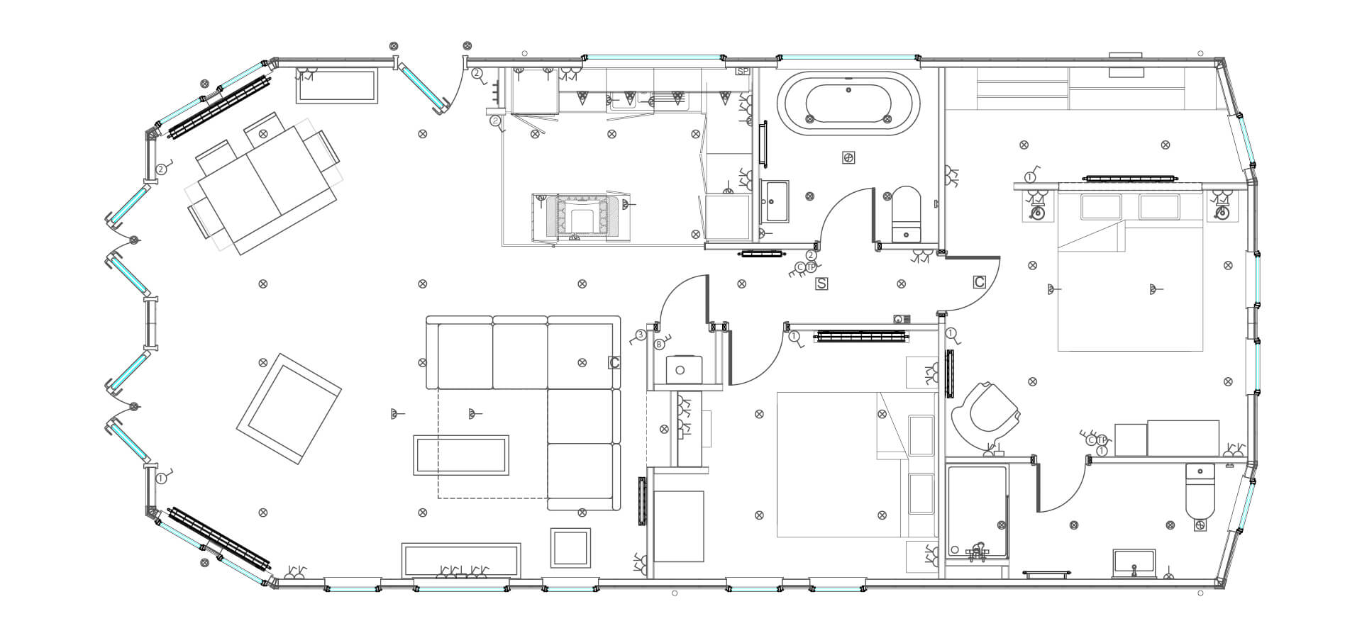 Floor plan of the glass house